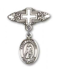 Pin Badge with St. Peregrine Laziosi Charm and Badge Pin with Cross [BLBP0876]