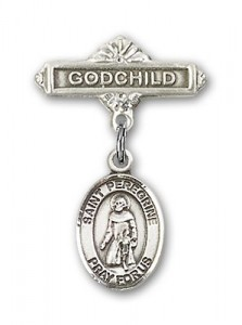 Pin Badge with St. Peregrine Laziosi Charm and Godchild Badge Pin [BLBP0880]