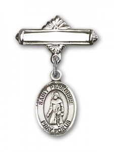 Pin Badge with St. Peregrine Laziosi Charm and Polished Engravable Badge Pin [BLBP0875]