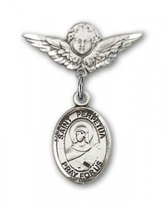Pin Badge with St. Perpetua Charm and Angel with Smaller Wings Badge Pin [BLBP1775]