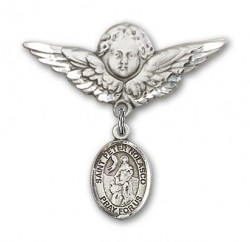 Pin Badge with St. Peter Nolasco Charm and Angel with Larger Wings Badge Pin [BLBP1905]