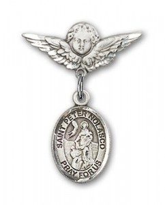 Pin Badge with St. Peter Nolasco Charm and Angel with Smaller Wings Badge Pin [BLBP1906]