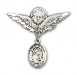 Pin Badge with St. Peter the Apostle Charm and Angel with Larger Wings Badge Pin [BLBP0892]