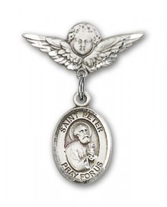 Pin Badge with St. Peter the Apostle Charm and Angel with Smaller Wings Badge Pin [BLBP0893]