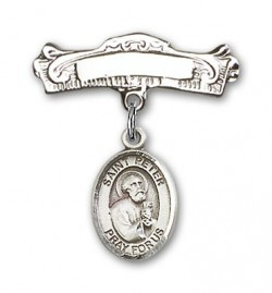 Pin Badge with St. Peter the Apostle Charm and Arched Polished Engravable Badge Pin [BLBP0891]
