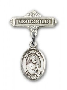 Pin Badge with St. Peter the Apostle Charm and Godchild Badge Pin [BLBP0894]