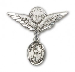 Pin Badge with St. Petronille Charm and Angel with Larger Wings Badge Pin [BLBP1347]