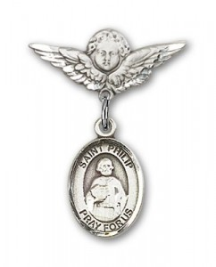 Pin Badge with St. Philip the Apostle Charm and Angel with Smaller Wings Badge Pin [BLBP0844]