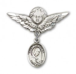 Pin Badge with St. Philomena Charm and Angel with Larger Wings Badge Pin [BLBP0801]