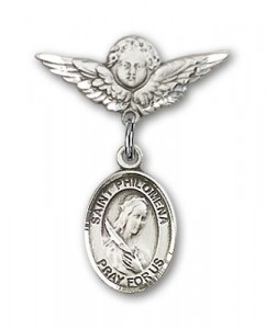 Pin Badge with St. Philomena Charm and Angel with Smaller Wings Badge Pin [BLBP0802]