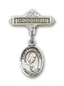 Pin Badge with St. Philomena Charm and Godchild Badge Pin [BLBP0803]