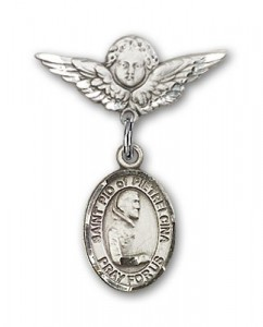 Pin Badge with St. Pio of Pietrelcina Charm and Angel with Smaller Wings Badge Pin [BLBP1138]