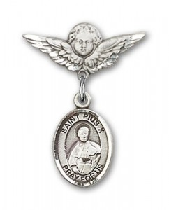 Pin Badge with St. Pius X Charm and Angel with Smaller Wings Badge Pin [BLBP2004]