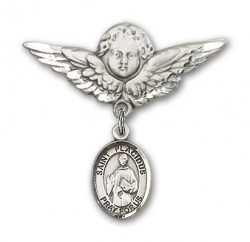 Pin Badge with St. Placidus Charm and Angel with Larger Wings Badge Pin [BLBP1557]