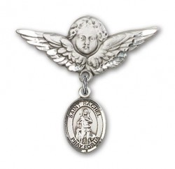 Pin Badge with St. Rachel Charm and Angel with Larger Wings Badge Pin [BLBP1634]