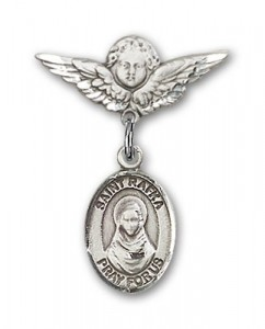 Pin Badge with St. Rafka Charm and Angel with Smaller Wings Badge Pin [BLBP2200]