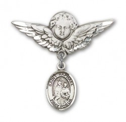 Pin Badge with St. Raphael the Archangel Charm and Angel with Larger Wings Badge Pin [BLBP0906]