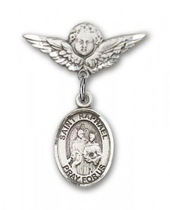 Pin Badge with St. Raphael the Archangel Charm and Angel with Smaller Wings Badge Pin [BLBP0907]