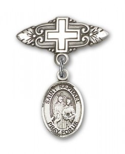 Pin Badge with St. Raphael the Archangel Charm and Badge Pin with Cross [BLBP0904]