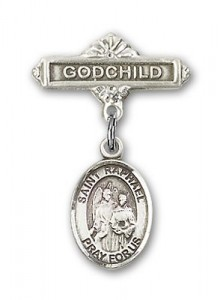 Pin Badge with St. Raphael the Archangel Charm and Godchild Badge Pin [BLBP0908]
