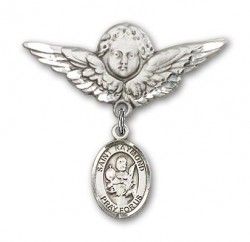 Pin Badge with St. Raymond Nonnatus Charm and Angel with Larger Wings Badge Pin [BLBP0899]