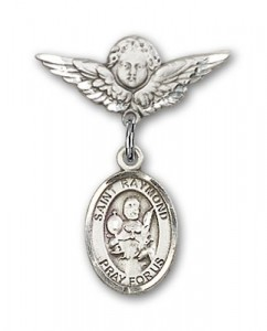 Pin Badge with St. Raymond Nonnatus Charm and Angel with Smaller Wings Badge Pin [BLBP0900]