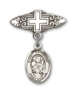 Pin Badge with St. Raymond Nonnatus Charm and Badge Pin with Cross [BLBP0897]