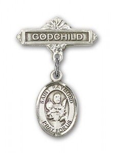 Pin Badge with St. Raymond Nonnatus Charm and Godchild Badge Pin [BLBP0901]