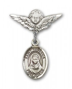 Pin Badge with St. Rebecca Charm and Angel with Smaller Wings Badge Pin [BLBP1642]