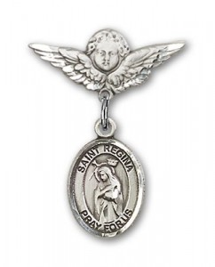 Pin Badge with St. Regina Charm and Angel with Smaller Wings Badge Pin [BLBP2179]