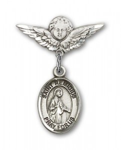 Pin Badge with St. Remigius of Reims Charm and Angel with Smaller Wings Badge Pin [BLBP1789]