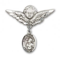Pin Badge with St. Rene Goupil Charm and Angel with Larger Wings Badge Pin [BLBP2171]