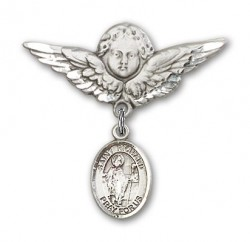 Pin Badge with St. Richard Charm and Angel with Larger Wings Badge Pin [BLBP0913]