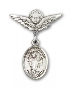 Pin Badge with St. Richard Charm and Angel with Smaller Wings Badge Pin [BLBP0914]