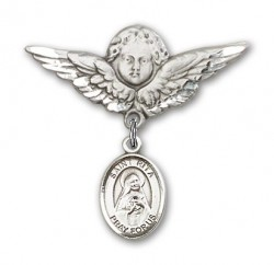 Pin Badge with St. Rita of Cascia Charm and Angel with Larger Wings Badge Pin [BLBP0920]