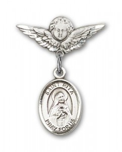 Pin Badge with St. Rita of Cascia Charm and Angel with Smaller Wings Badge Pin [BLBP0921]