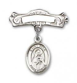 Pin Badge with St. Rita of Cascia Charm and Arched Polished Engravable Badge Pin [BLBP0919]