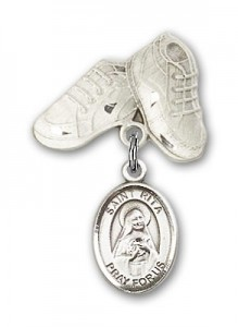 Pin Badge with St. Rita of Cascia Charm and Baby Boots Pin [BLBP0923]