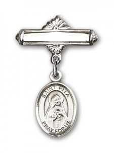 Pin Badge with St. Rita of Cascia Charm and Polished Engravable Badge Pin [BLBP0917]