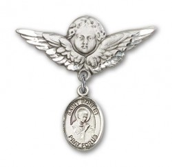 Pin Badge with St. Robert Bellarmine Charm and Angel with Larger Wings Badge Pin [BLBP0934]
