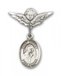 Pin Badge with St. Robert Bellarmine Charm and Angel with Smaller Wings Badge Pin [BLBP0935]