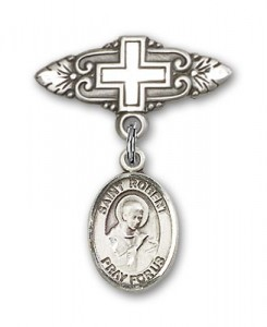 Pin Badge with St. Robert Bellarmine Charm and Badge Pin with Cross [BLBP0932]