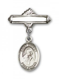 Pin Badge with St. Robert Bellarmine Charm and Polished Engravable Badge Pin [BLBP0931]