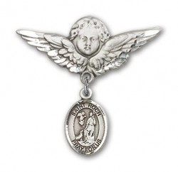 Pin Badge with St. Roch Charm and Angel with Larger Wings Badge Pin [BLBP2038]