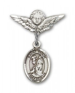 Pin Badge with St. Roch Charm and Angel with Smaller Wings Badge Pin [BLBP2039]