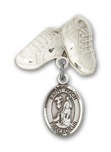 Pin Badge with St. Roch Charm and Baby Boots Pin [BLBP2041]
