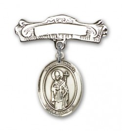 Pin Badge with St. Ronan Charm and Arched Polished Engravable Badge Pin [BLBP2072]