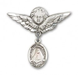 Pin Badge with St. Rose Philippine Charm and Angel with Larger Wings Badge Pin [BLBP2332]
