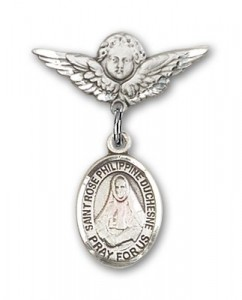 Pin Badge with St. Rose Philippine Charm and Angel with Smaller Wings Badge Pin [BLBP2333]