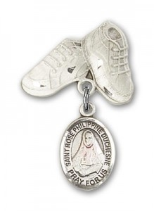 Pin Badge with St. Rose Philippine Charm and Baby Boots Pin [BLBP2335]